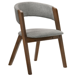 Rennes Modern Grey Fabric + Walnut Dining Chair