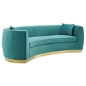 Resonate Curved Teal Velvet + Gold Sofa