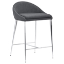 Reykjavik Modern Counter Stool in Graphite by Zuo