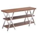 Rhine Walnut Wood + Brushed Stainless Steel Modern TV Stand