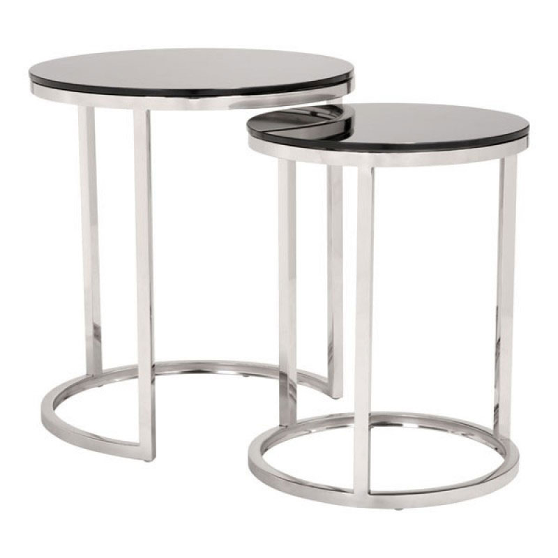 Rhonda Black Tempered Glass + Brushed Stainless Steel Modern Nesting Side  Tables