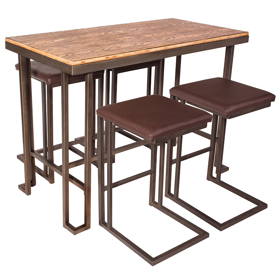 ... Ridley Modern Counter Table + Stools Set ...  sc 1 st  Eurway : dining table stools set - pezcame.com