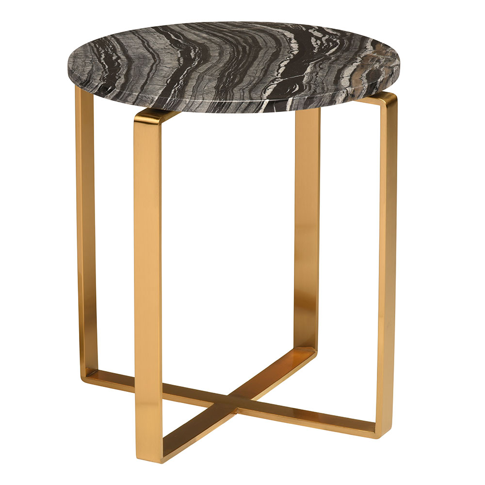 Riesel Black Marble + Gold Steel Round Modern End Table