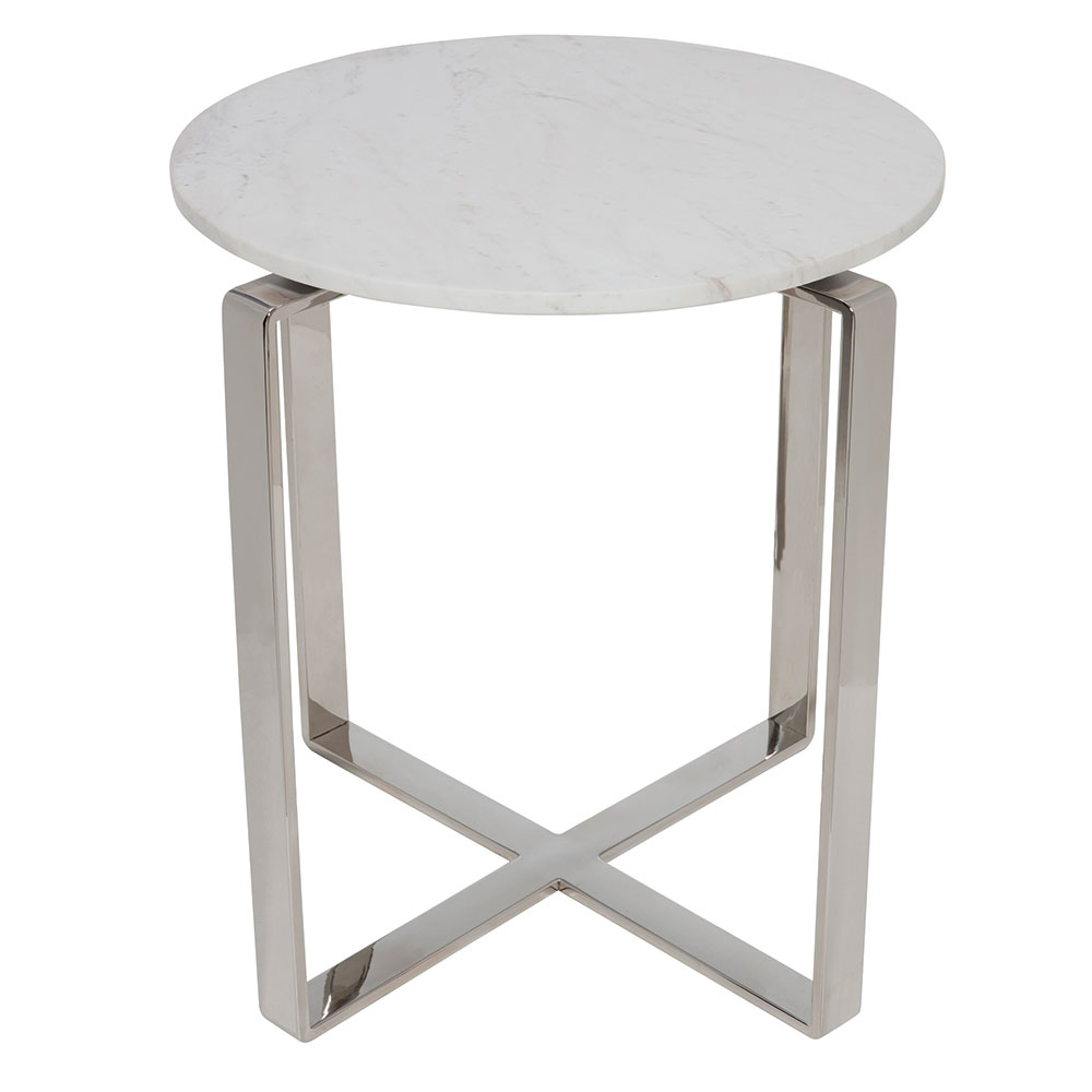Riesel White Marble + Brushed Steel Round Modern Side Table