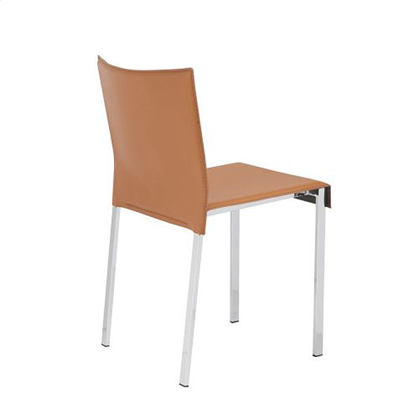 Riley Modern Cognac + Chrome Dining Chair