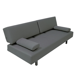Rio Modern Dark Gray Fabric Chrome Sleeper Sofa Bed