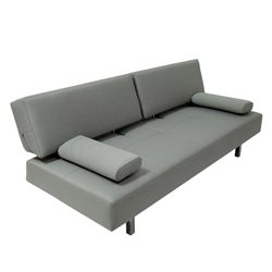 Rio Modern Light Gray Fabric + Chrome Sleeper Sofa Bed