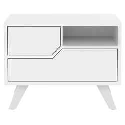 Modloft Rivington Left-Facing Modern Nightstand in Glossy White Lacquer
