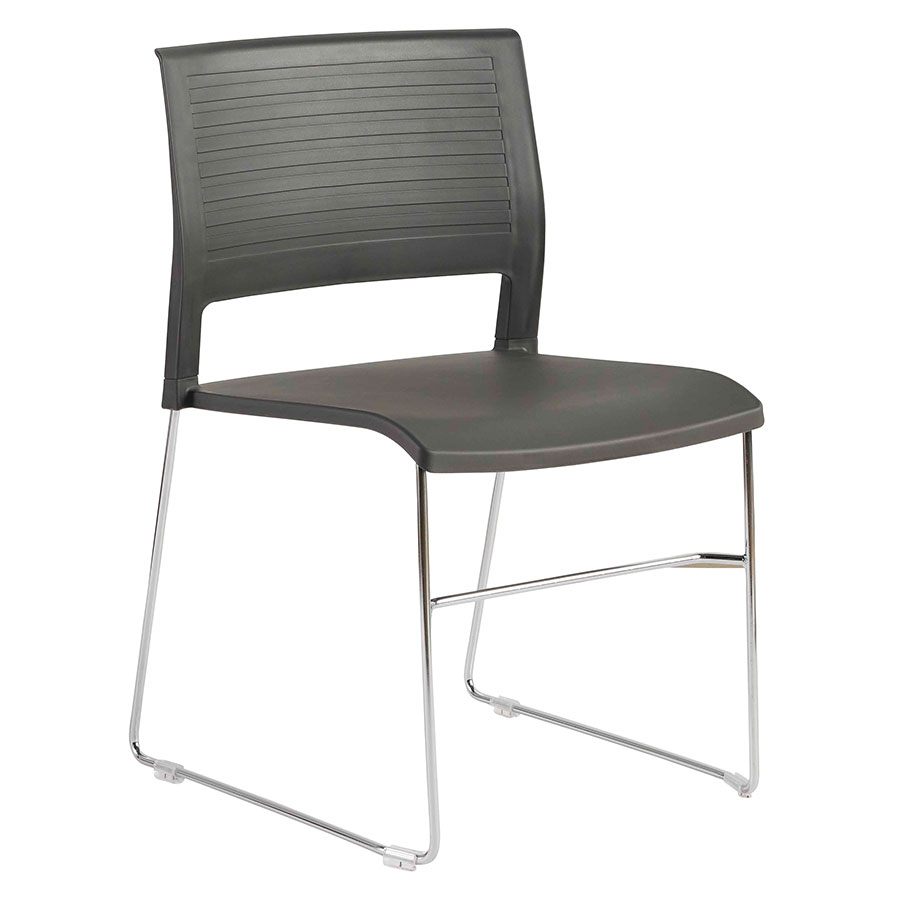 Rizdy Anthracite Polypropylene + Chromed Steel Modern Stacking Chair