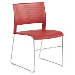 Rizdy Red Polypropylene + Chromed Steel Modern Stacking Chair