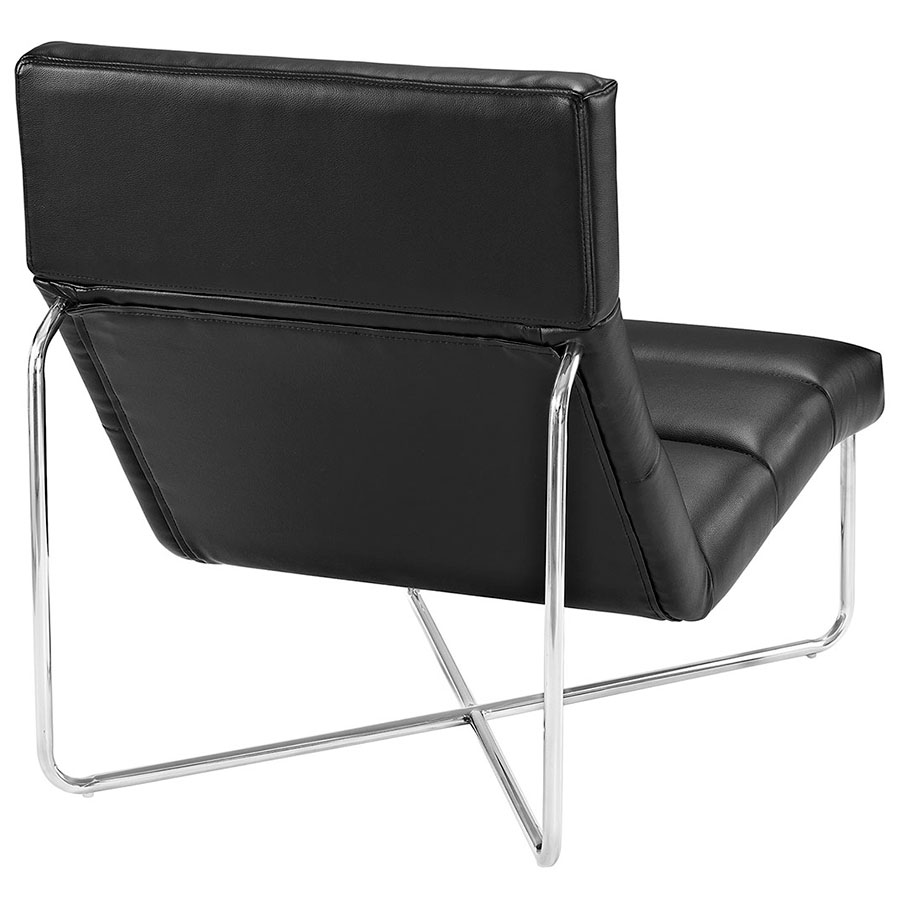 roanoke modern black lounge chair  eurway furniture -  roanoke modern black lounge chair  back view