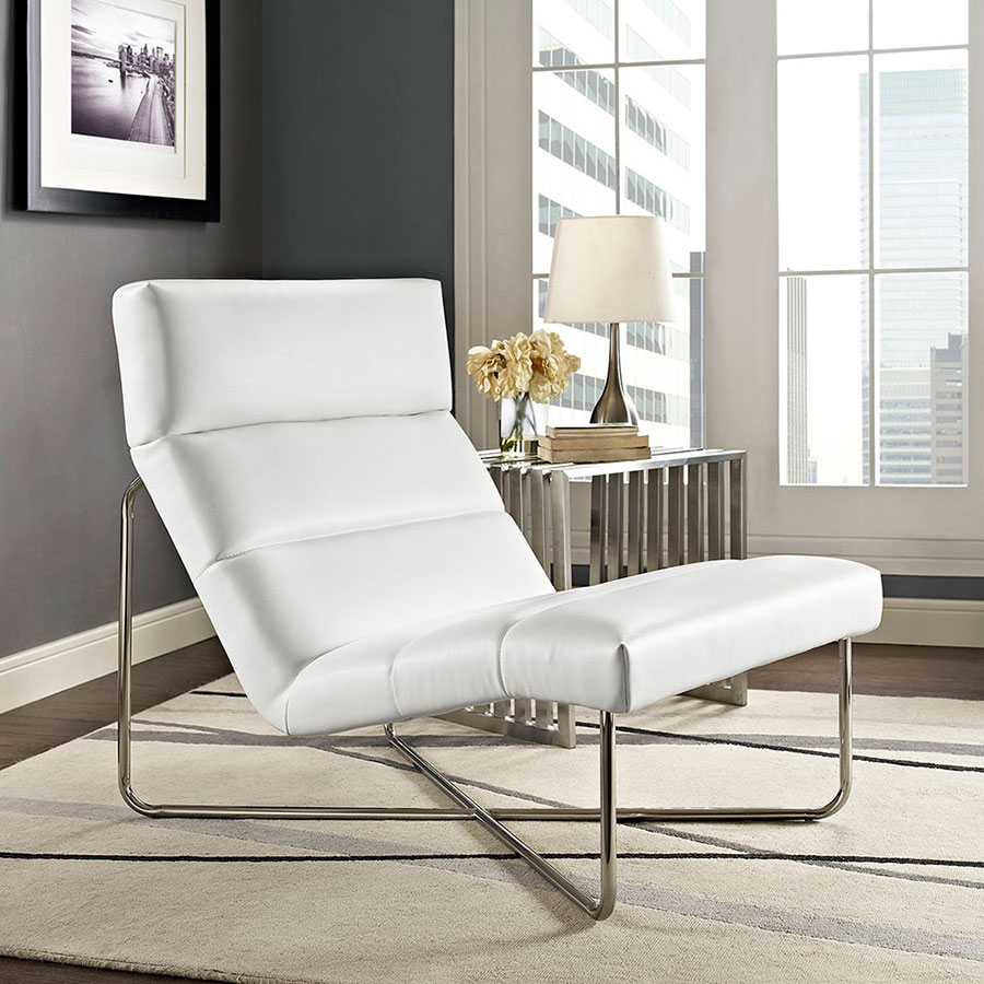 Roanoke Modern White Lounge Chair | Eurway Furniture