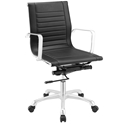 Roanoke Modern Black + Chrome Mid Back Office Chair