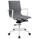 Roanoke Modern Gray + Chrome Mid Back Office Chair