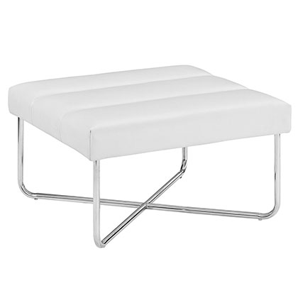 Roanoke Modern White Ottoman