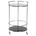 Robin Modern Brushed + Black Glass Rolling Cart