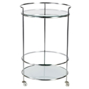 Roberta Modern Brushed + Frosted Glass Rolling Cart