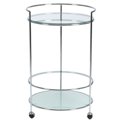 Roberta Modern Chrome + Frosted Glass Rolling Cart