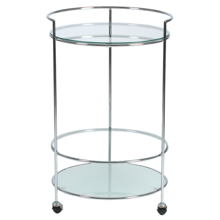 Robin Modern Chrome + Frosted Glass Rolling Cart