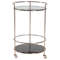 Robin Modern Copper + Black Glass Rolling Cart
