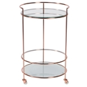 Roberta Modern Copper + Frosted Glass Rolling Cart