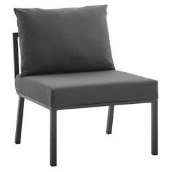 Rochester Modern Outdoor Slate + Charcoal Armless Chair