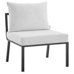 Rochester Modern Outdoor Slate + White Armless Chair