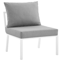 Rochester Modern Outdoor White + Gray Armless Chair