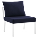 Rochester Modern Outdoor White + Navy Blue Armless Chair
