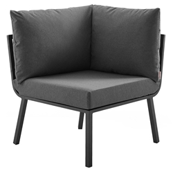 Rochester Modern Outdoor Slate + Charcoal Corner Chair