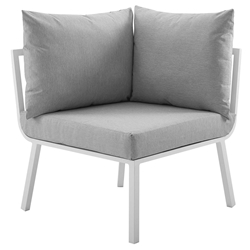 Rochester Modern Outdoor White + Gray Corner Chair