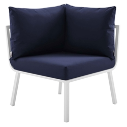 Rochester Modern Outdoor White + Navy Blue Corner Chair