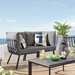 Rochester Contemporary Outdoor Slate + Charcoal Loveseat