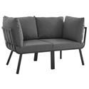 Rochester Modern Outdoor Slate + Charcoal Loveseat