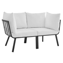 Rochester Modern Outdoor Slate + White Loveseat