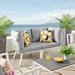 Rochester Contemporary Outdoor White + Gray Loveseat