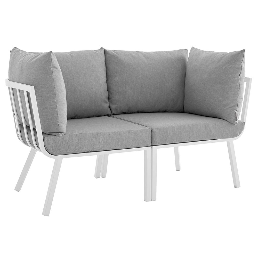 Rochester Modern Outdoor White + Gray Loveseat