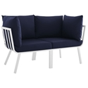 Rochester Modern Outdoor White + Navy Blue Loveseat