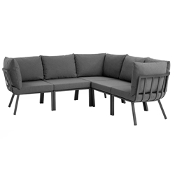 Rochester Contemporary Outdoor Slate + Charcoal Sectional Sofa