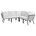 Rochester Contemporary Outdoor Slate + White Sectional Sofa