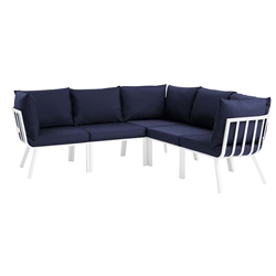 Rochester Contemporary Outdoor White + Navy Sectional Sofa
