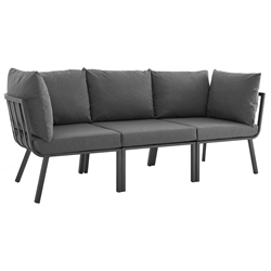 Rochester Modern Outdoor Slate + Charcoal Sofa