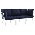 Rochester Modern Outdoor White + Navy Blue Sofa