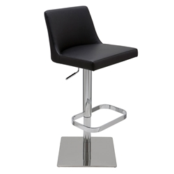 Rome Black Naugahyde + Polished Stainless Steel Modern Adjustable Height Bar + Counter Stool