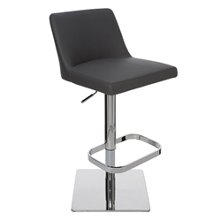 Rome Gray Naugahyde + Polished Stainless Steel Modern Adjustable Height Bar + Counter Stool