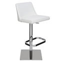 Rome White Naugahyde + Polished Stainless Steel Modern Adjustable Height Bar + Counter Stool
