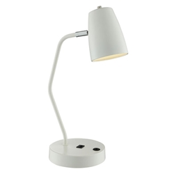 Ronald Modern White Desk Lamp with USB Port