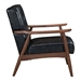 Rooney Black Faux Leather + Walnut Stained Rubber Wood Mid Century Modern Arm Chair - Side