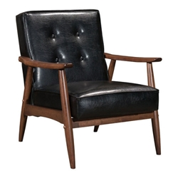 Rooney Black Faux Leather + Walnut Stained Rubber Wood Mid Century Modern Arm Chair