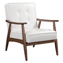 Rooney White Faux Leather + Walnut Stained Rubber Wood Mid Century Modern Arm Chair